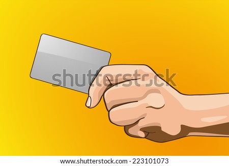 Vector illustration - Beautiful hands holding a card in outline version. Created with adobe illustrator, background, card are Created separately. - stock vector