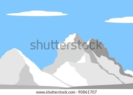 Vector illustration - Beautiful peaks in Alps - mountain landscape - stock vector