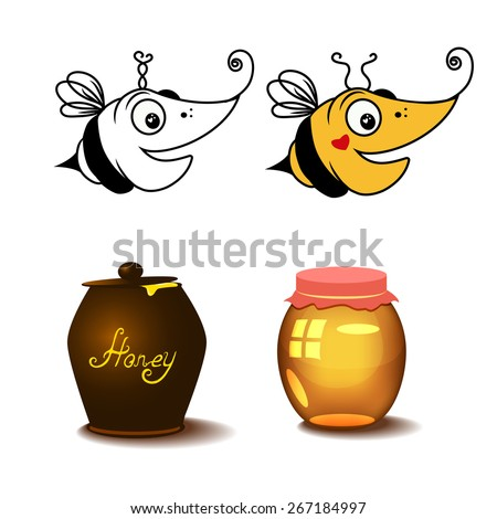 Vector illustration. Bee and honey. Editable. - stock vector