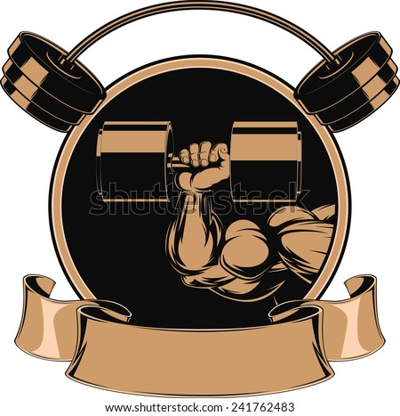 Vector illustration, big biceps and barbell - stock vector
