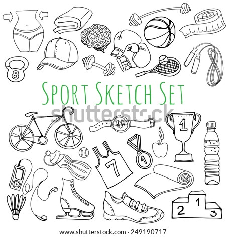 Vector illustration Black and white Sport and fitness seamless doodle icons set - stock vector