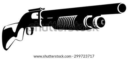Vector illustration black and white with a shotgun isolated on white background - stock vector
