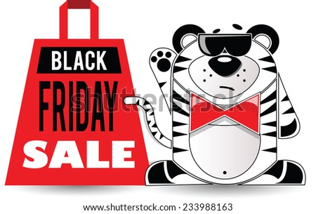 Vector illustration. Black Friday shopping bag with the animal in black glasses. - stock vector