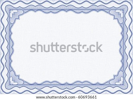 Vector illustration - blue certificate template - stock vector