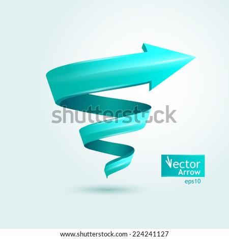 Vector illustration. Blue stylish arrow, pointer, spiral - stock vector