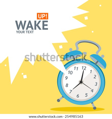 Vector illustration blue wakeup clock card, place for your text. Flat Design - stock vector