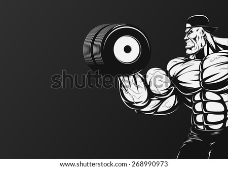 Vector illustration, bodybuilder doing exercise with dumbbells for biceps - stock vector