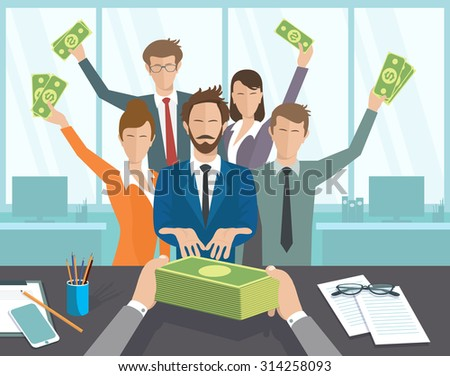 Vector illustration, boss issues, groups of people pay. The office manager or workers receive a monthly salary. - stock vector