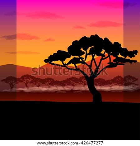 vector illustration bright African landscape - stock vector