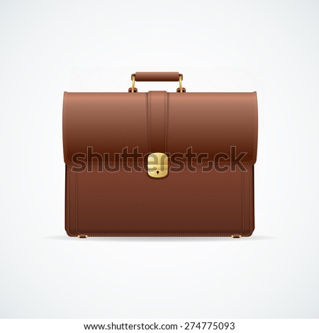 Vector illustration brown glossy briefcase, cuitcase isolated on white background. Marketing and business concept - stock vector