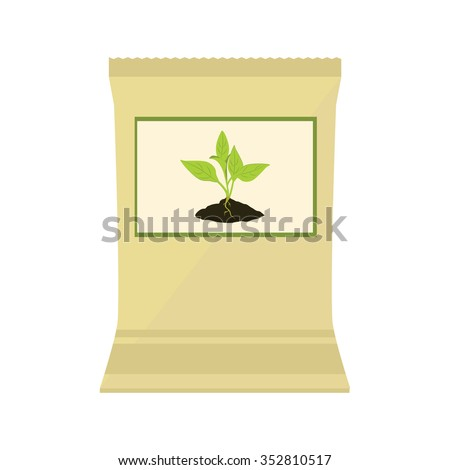 Vector illustration brown, paper bag with fertilizer. Plant growing in the ground. Little plant seedling. Seedling icon - stock vector