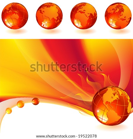 vector illustration - burning globe on a red abstract background - stock vector