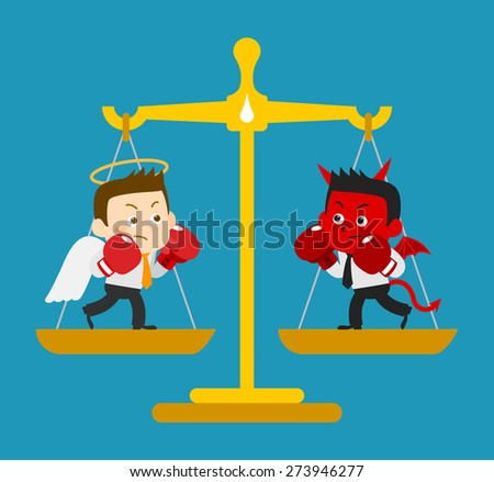 Vector illustration - Business Angel and Devil are boxing on a scale - stock vector