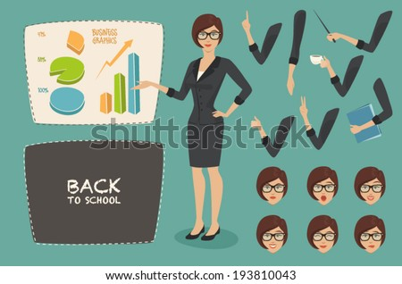 vector illustration business concept set young women, teacher (business woman character) graphics on the whiteboard, emotions face, flat style, back to school - stock vector