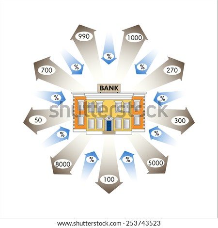 Vector illustration. Business graphics. Infographics: Bank Loans as a cash flow. Loans and advances to customers of the bank. Repayment of loans with interest. Banking. - stock vector