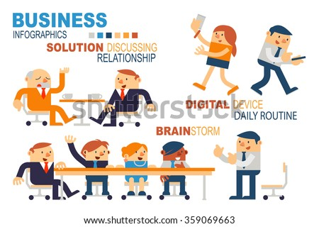 Vector Illustration Business People Concepts, Brainstorm, Digital Device in Daily Routine and Solution Discussing, Relationship. - stock vector