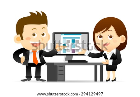 Vector illustration - Businessman and businesswoman working at computer - stock vector