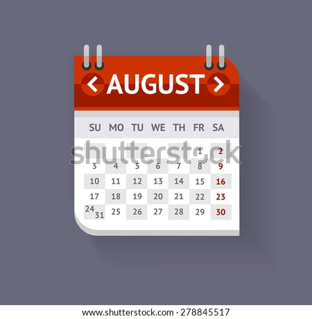 Vector illustration Calendar August  isolated on a grey background. Flat Design - stock vector