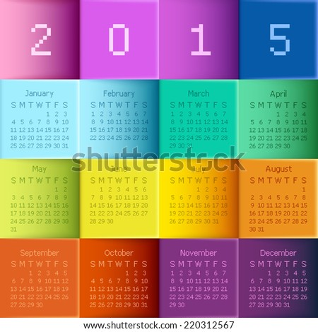 Vector illustration calendar for new year. - stock vector