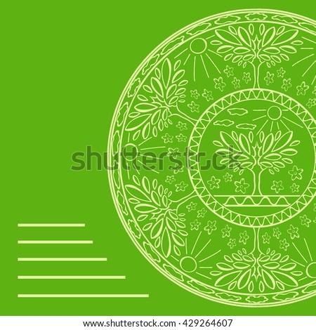 Vector illustration card with trees, sun, flowers circular ornament - stock vector