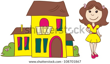 vector illustration- cartoon brownhead  young woman in dress and shoes with bow standing near her  house  on white background - stock vector