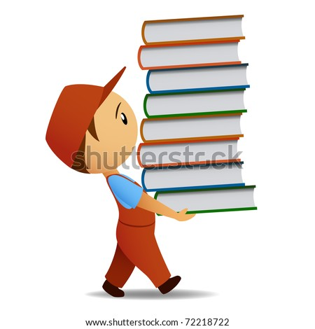 Vector illustration. Cartoon delivery man carries the book - stock vector