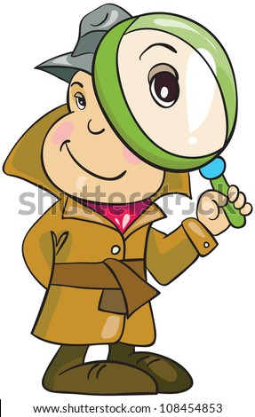 vector illustration-  cartoon detective in hat and  topcoat with magnifying glass on white background - stock vector
