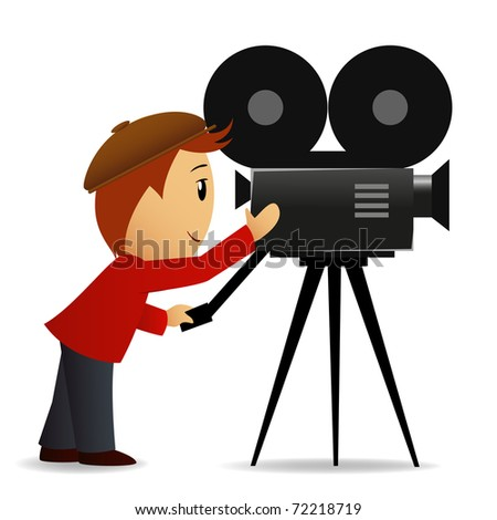 Vector illustration. Cartoon man shoot the cinema with movie camera - stock vector