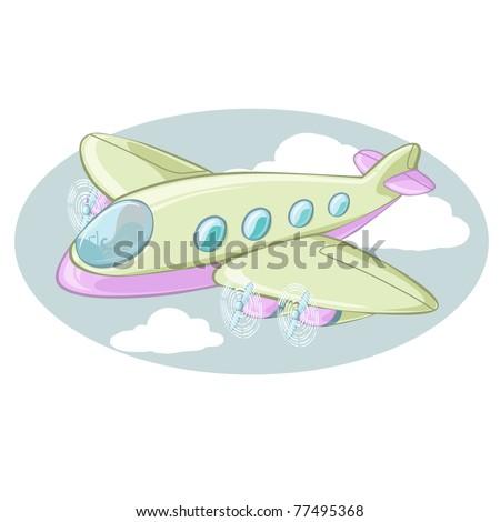 Vector illustration, cartoon plane, card concept. - stock vector