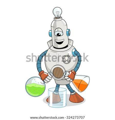 Vector illustration cartoon robot makes science experiment, cartoon, robot, machine, colorful - stock vector