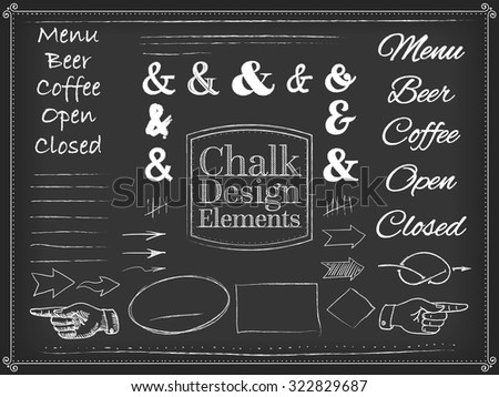 Vector illustration chalk design elements , arrows, pointer, hand, style blackboard, chalk style, chalkboard  - stock vector