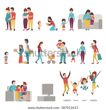 Vector illustration character set of parents, mother, father with kids. Family, pregnant, holding baby, learning to walk, go shopping, give birthday cake and present, jumping in happiness. - stock vector