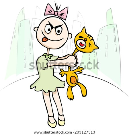 Vector illustration. Children's cruelty. Little girl torturing a cat. humor - stock vector