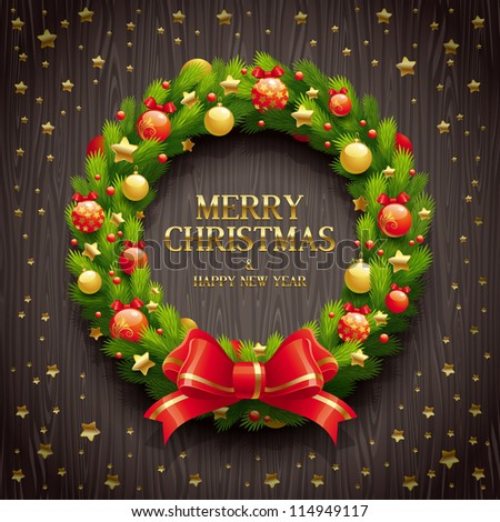 Vector illustration - Christmas coniferous wreath on a wooden background - stock vector