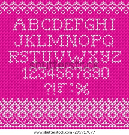 Vector illustration Christmas Font: Scandinavian style seamless knitted - stock vector