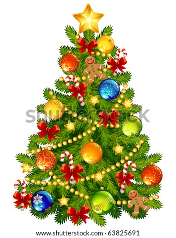 Vector illustration - Christmas tree - stock vector