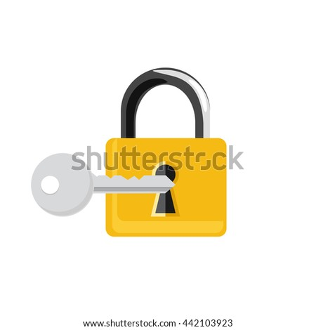Vector illustration closed golden lock and silver key isolated on white background. Lock, key icon set, collection. Padlock - stock vector