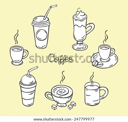 Vector illustration coffee, coffee, coffee drinks, latte, cafe, espresso, black and white coffee  - stock vector