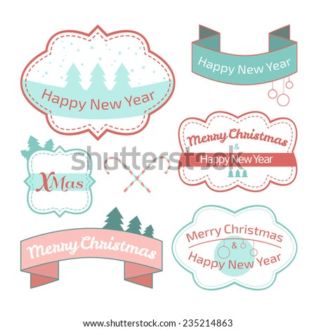 vector illustration. Collection of Christmas labels isolated on white background, pastel shades - stock vector