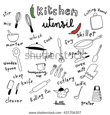 vector illustration - collection of kitchen utensils in doodle style such as cutlery, skillet, spatula, whisk, grater, knife, cleaver, pot, ladle and etc. Words regarding cooking utensils are included - stock vector