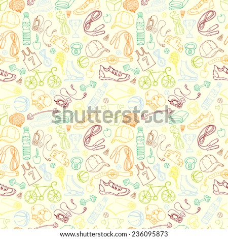 Vector illustration Color Sport and fitness seamless doodle pattern - stock vector