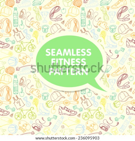 Vector illustration Color Sport and fitness seamless doodle pattern with sticker frame for your text - stock vector