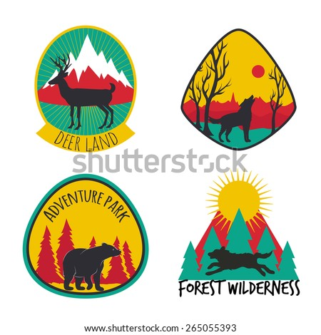 Vector illustration. Colored set of camping emblems, labels and logos with mountains, trees, deers, wolves and bear. Hunting, traveling, sunrise, mountains, nature and rays of sun - stock vector