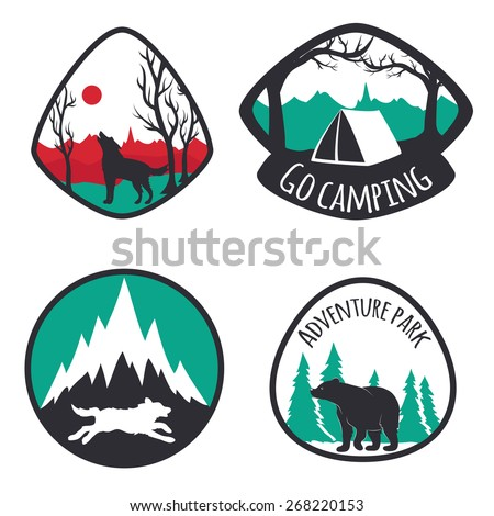 Vector illustration. Colored set of camping emblems, labels and logos with mountains, trees, deers, wolves and bear. Hunting, traveling, sunrise, mountains, outdoor and nature lifestyle - stock vector