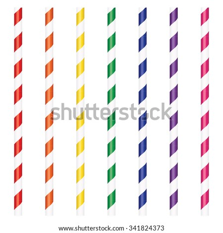 Vector illustration colorful cocktail drinking straws set - stock vector