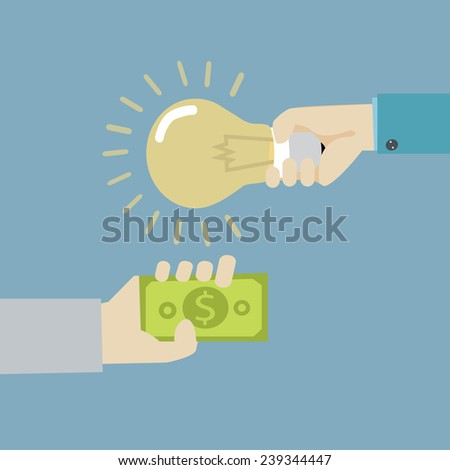 vector illustration concept for crowdfunding, investing into ideas isolated on bright background - stock vector