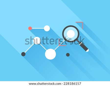 Vector illustration concept of data analysis isolated on blue background with long shadow. - stock vector