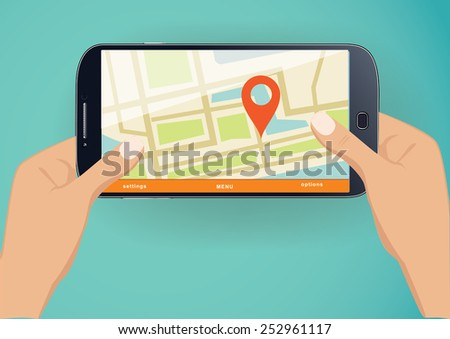 Vector illustration concept of  holding smart-phone with mobile  navigation. - stock vector