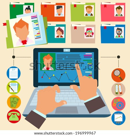 vector illustration concept of human resources management, finding professional staff, head hunter job, employment issue and analyzing personnel resume.infographics. - stock vector