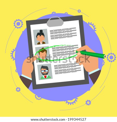 vector illustration concept of human resources management, finding professional staff, head hunter job, employment issue and analyzing personnel resume. - stock vector